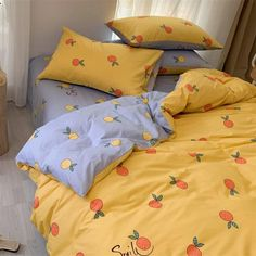 Cute Orange Bedding Set - Cute Orange Bedding Set The Effective Pictures We Offer You About home decorations diy A quality p - Dream Rooms, Dream Bedroom, Master Bedroom, White Bedroom, Kawaii Bedroom, Orange Bedding, Cute Room Decor, Wall Decor, Aesthetic Room Decor