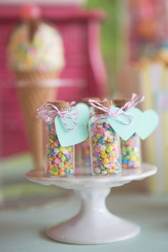 Multicolored Candy Sprinkle Favors | Jessica Little Photography | Retro Candy Shop Anniversary Shoot