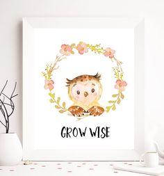 Infantiles para imprimir, imprimir de vivero, arte de pared de vivero, vivero decoración de la pared, decoración de la pared del animal, animal print para imprimir, animal, arte imprimible buho