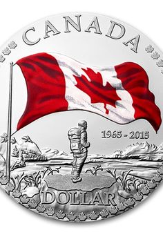 2015 Fine Silver Proof Dollar With Colour Anniversary of the Canadian Flag - hope I find one of these while I am there. Canadian Things, I Am Canadian, Canadian History, All About Canada, Ottawa, Happy Canada Day, Canada 150, Gold And Silver Coins, Quebec