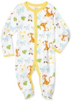 Disney Baby-Boys Newborn Winnie The Pooh On Wheels  Sleep and Play Romper, White, 0-3 Months