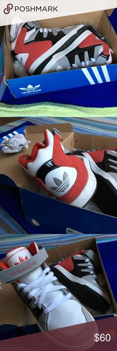 Adidas Red White & Black Sneakers Only worn once still in very good condition. These shoes come with the box and has an extra pair of un used black shoelace included as seen in the last picture of this listing. Model is MC - X 1 Adidas Shoes Sneakers