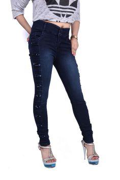 Fasdest Women/ Ladies Funkylook High waist Stretchable dark blue Jeans #D1277
