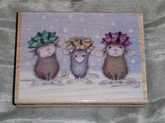 House Mouse Rubber Stamp Wrapped Ready Christmas Bows Holiday Any Occasion | eBay  (1200 x 900)