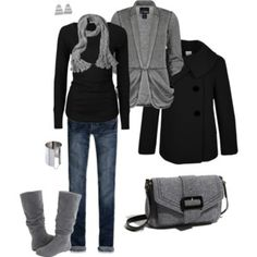 boots. skinnies. black and grey color scheme. this is me, to a tee!