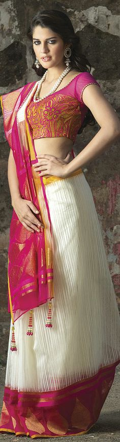 Handwoven jute silk saree