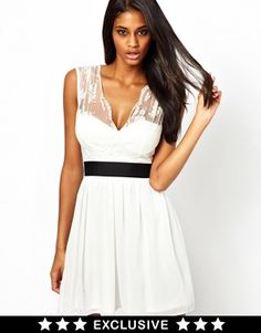 Image 1 of Elise Ryan Skater Dress with Scallop Lace