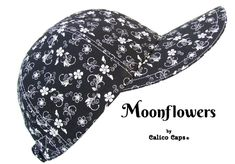 """""""Moonflowers"""" Black White Flower Floral Print Baseball Ball Cap by Calico Caps® 