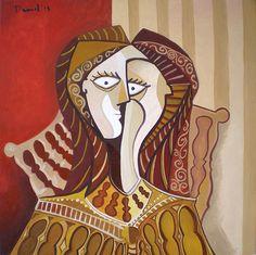 Mujer con vestido amarillo. Óleo sobre lienzo. Tamaño 60x60 cms. Año 2014