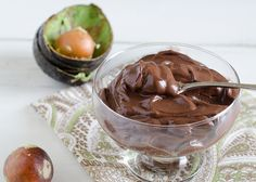 Chocolate Avocado Pudding - uses 2 avocados, cocoa powder, honey or agave, milk (regular or almond), vanilla