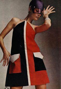 Mademoiselle yeye Carly Dress in Orange and Purple 106 20 18745 20160720 1960s Mod Fashion, Sixties Fashion, Retro Fashion, Vintage Fashion, High Fashion, Fashion Women, Twiggy, Estilo Mod, Style Année 60