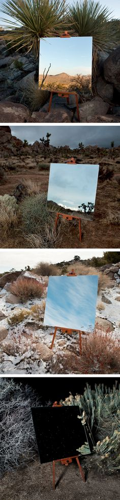 Daniel Kukla: The Edge Effect. While staying in the Joshua Tree National Park, I caught glimpses of the border space created by the meeting of distinct ecosystems in juxtaposition. To document this unique confluence of terrains, I hiked out a large mirror and painter's easel into the wilderness and captured opposing elements within the environment.