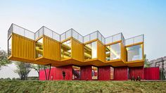 12 Shipping Containers Form Bold, Transportable Pavilion in China  Roof terraces aplenty