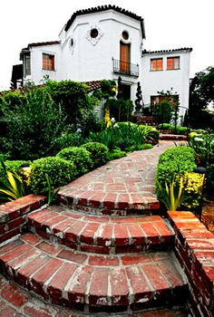 """1920's Spanish Colonial Revival home -use of simple red brick. The trick is: don't get too """"clever"""" or fancy, impacting the charm negatively."""
