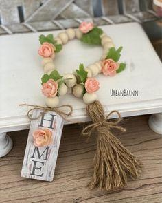 Wood Bead Garland, Diy Garland, Beaded Garland, Dollar Tree Crafts, Style At Home, Tray Decor, Spring Crafts, Bead Crafts, Diy Crafts To Sell