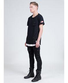 Profound Aesthetic/プロファウンド・エステティック - カーゴポケットTシャツ (ブラック) Cargo Pocket T shirt Black - ファッション通販セレクトショップ SIAMESE/サイアミーズ