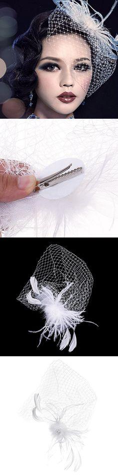 Kloud City Bridal White Feather Veil With Hair Clip Birdcage Women's Fascinator Veil