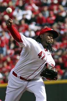 Cincinnati Reds  Jonny Cueto pitches against the Miami Marlins in the third  inning of a 21fb8460b951