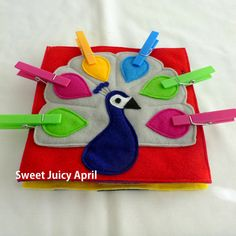 Peacock Clothespin Quiet Book Page by SweetJuicyApril on Etsy