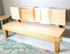 Use cabinet doors from the re-store to build a one of a kind bench!