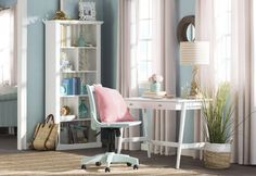 Coastal Home Office Design Photo by Beachcrest Home