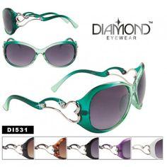 9119f8346c Wholesale Diamond Eyewear™ DI531 Rhinestone Sunglasses with Hearts  (Assorted Colors) (12 pcs.)
