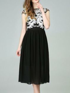 Black Chiffon Dress With Disa Floret In Top   Choies