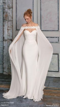 Justin Alexander Signature Fall 2018 Crepe Fit and Flare B .- Justin Alexander Signature Herbst 2018 Crepe Fit und Flare Brautkleid mit Chiffo Justin Alexander Signature Fall 2018 Crepe Fit and Flare Wedding Dress with Chiffo … – dress - Fit And Flare Wedding Dress, Dream Wedding Dresses, Bridal Dresses, Prom Dresses, Wedding Dress Cape, Fashion Wedding Dress, Bridal Cape, Evening Wedding Dresses, Bridal Fashion