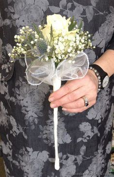A lovely wand bouquet for a flowergirl - White Rose, Blue Eryngium and Gypsophila Flower Girl Wand Bouquet Blue Wedding Flowers, White Wedding Bouquets, Cream Flowers, Bride Bouquets, Purple Wedding, Flowers In Hair, Bridesmaid Bouquets, Flower Girl Wand, Flower Girl Bouquet