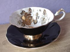Vintage Black tea cup and saucer Queen Anne Gold by ShoponSherman