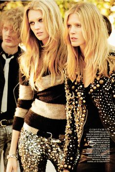 Toni Garrn & Iselin Steiro/Vogue España  the gold sequined pants!!!