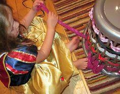 ribbon weaving through clothes basket for fine motor skills Motor Activities, Craft Activities For Kids, Projects For Kids, Preschool Activities, Tot School, School Fun, Learning Through Play, Kids Learning, Montessori