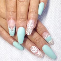Teal and white lace coffin nails