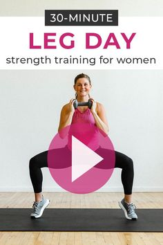 Strength train your way to strong, sculpted legs, thighs and glutes with this Leg Day Workout Video! All you need is a set of dumbbells. Leg Workout At Home, Leg Day Workouts, Strength Training Workouts, At Home Workouts, Treadmill Workouts, Workout Plans, Hiit, Fitness Video, Group Fitness