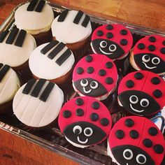 Piano keys and ladybird cupcakes.