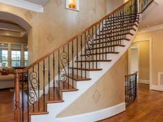 Wood Rail With Detail Metal Spindles Stairs Railings
