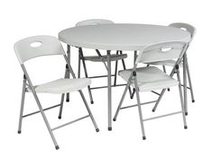 """Office Star Work Smart QT6173-05 5 Piece Folding Set (4 chairs and 48"""" Round fold in half table)"""