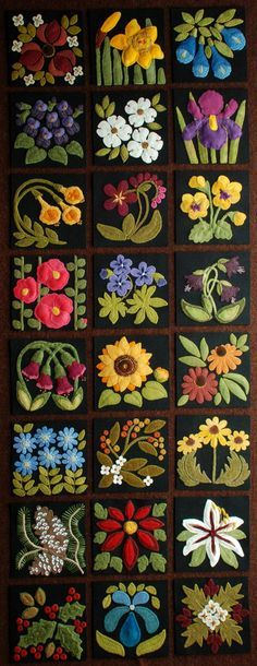 """Wool applique PATTERNS &/or KITS for ALL 24 6x6 inch blocks of """"Four Seasons of Flowers"""" folk art wool quilt wall hanging table bed runner"""