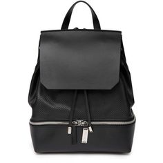 Costume National Cut-Out Leather Backpack ($670) ❤ liked on Polyvore featuring bags, backpacks, accessories bags, black, leather bags, genuine leather backpack, knapsack bags, black rucksack and leather knapsack
