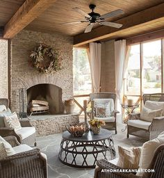This is exactly what I would love to have a screened porch, fireplace, perfect white curtains! Outdoor Seating, Outdoor Rooms, Outdoor Kitchens, Rustic Outdoor Spaces, Rustic Patio, Outdoor Curtains, Outdoor Patios, Indoor Outdoor, Home Living