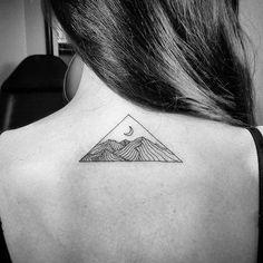 Amazing artist Jason @afflictedaddictiontattoos triangle framed sky lunar back tattoo design! ...