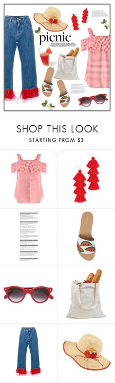 """""""Picnic!"""" by diane1234 ❤ liked on Polyvore featuring Misa, Arche, Topshop, Cutler and Gross, Dolce&Gabbana, Frontgate, picnic, watermelon and gingham"""