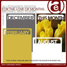 For The Love Of Months Journal Cards Brushes and Stamps - Photoshop Brushes