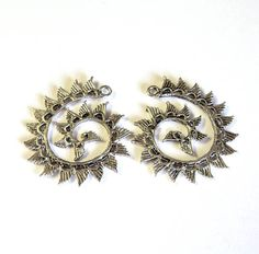 2 Zola Elements Antique Silver Wings Swirl Pendanst Focasl