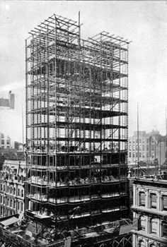 Skyscraper Structure | The Reliance's steel frame. Note the lack of cross bracing and (if you ...
