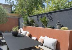 Garden Pool, Backyard Patio, Backyard Landscaping, Outdoor Sofa, Outdoor Decor, Colorful Garden, Mediterranean Style, Ideal Home, Garden Design