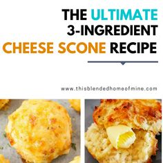 These 3 Ingredient Savory Cheese Scones are super easy to make and so versatile, you can add anything to it. Perfect for breakfast, brunch or whenever! Cheese Scones, Savory Scones, Savory Muffins, 3 Ingredient Scones, 3 Ingredient Recipes, Brunch Recipes, Breakfast Recipes, Dessert Recipes, Desserts
