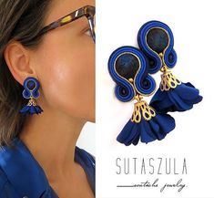 Cobalt blue soutache earrings clip on earrings beaded jewelry royal blue earrings cobalt blue jewelry cobalt blue drop sapphire earrings Blue Drop Earrings, Sapphire Earrings, Big Earrings, Seed Bead Earrings, Unique Earrings, Clip On Earrings, Tassel Jewelry, Beaded Jewelry, Soutache Earrings