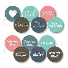 Typo-Sticker mit lustigen Kosenamen und urigen Wörtern.