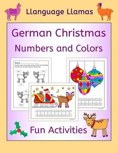 German Christmas - Weihnachten - Numbers and Colors Fun Christmas activities for practicing German numbers and colors vocabulary. The completed pictures make a colorful wall display.This pack comprises:*  2 Rudolph worksheets. The students read the number and color words in order to be able to complete the pictures of Rudolph the Reindeer.*  1 Decorate the Christmas Tree activity.